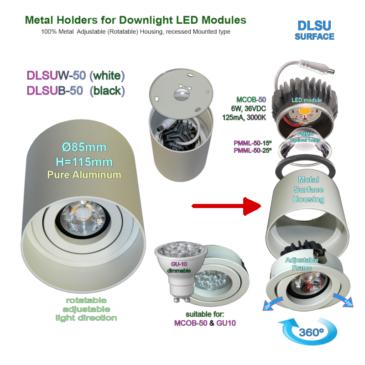 Felületre szerelhető Burkolat GU-10 és MCOB-50 LED modulhoz Fehér