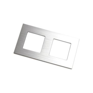 2 modulos Kristályüveg szerelőkeret Szálcsiszolt alumínium