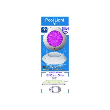 Fehér-fény LED-es Medence világítás 1550Lm 7000 °K