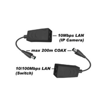 1 csatornás Ethernet – Koax jeltovábbító szett 200 m-re