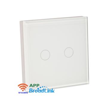 2 csatornás Érintőgombos fali RF távvezérlő fehér